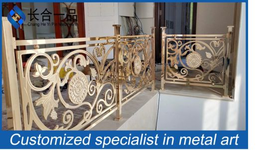 Customized Shiny Gold Carve Patterns Stainless Steel Railings for Indoor and Outdoor