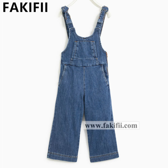 Factory Price Wholesale Children/Kid Clothes Girls Jeans Wear Denim Jumpsuits