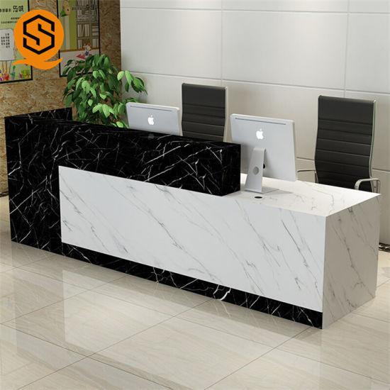 Marble Salon Office Reception Desk Table Front Design Counter
