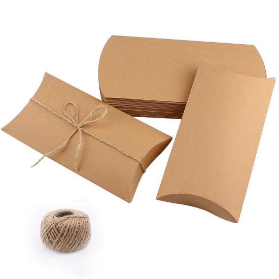 Stock Kraft Paper Pillow Box 9*6.5*2.4cm With hemp Tie Gift easy ...   550x550