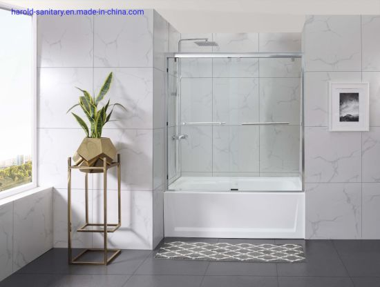 Clamp Hanging Double Slider Shower Enclosure Bath Screen