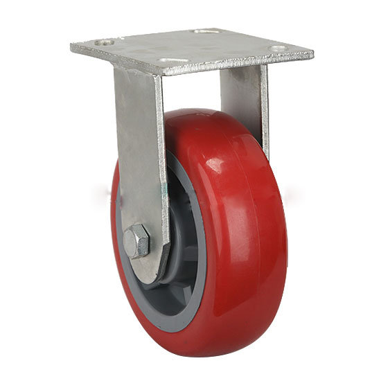 """6"""" Fixed Red Round PU Caster Wheel"""
