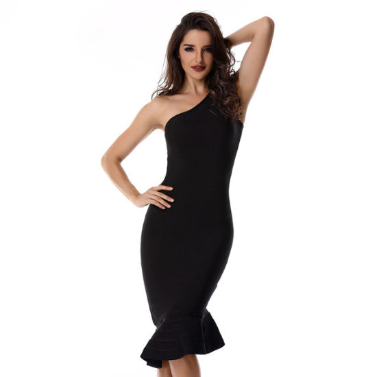 5e4735b48e9e0 New Women Sexy Tight Dress of One Shoulder Red Dress Black Classic Special  Occation of Evening Party Bandage Dress