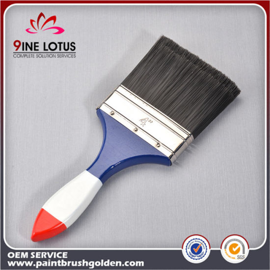 High Quality Black PBT Plastic Material Head Red & White & Blue Wooden Handle Paint Brush pictures & photos