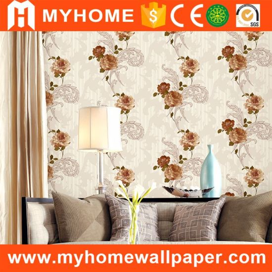 New Design Flower Wall Paper Cheap Price PVC 3D Wallpaper for Interior Wall Decoration