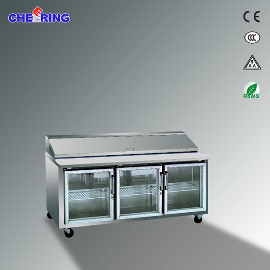Glass Door Sandwich Prep Working Table for Restaurant (KT2) pictures & photos