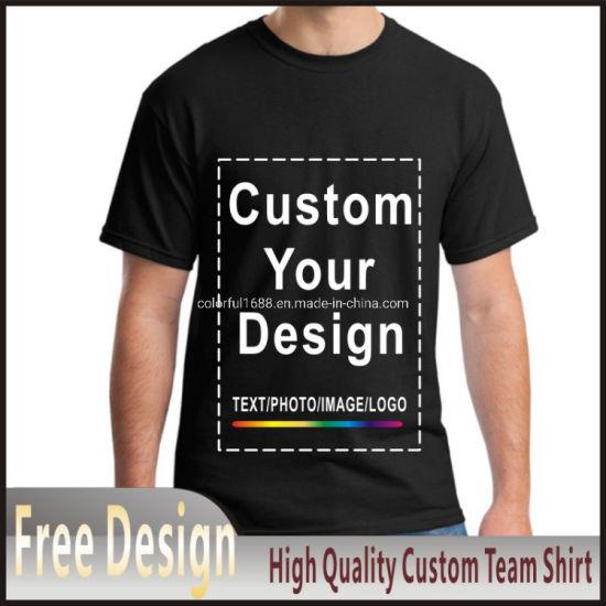 Customized Print T Shirt for Men Men's Size Modal Heat Transfer Process DIY Your Like Photo or Logo Black Top Tees T-Shirt