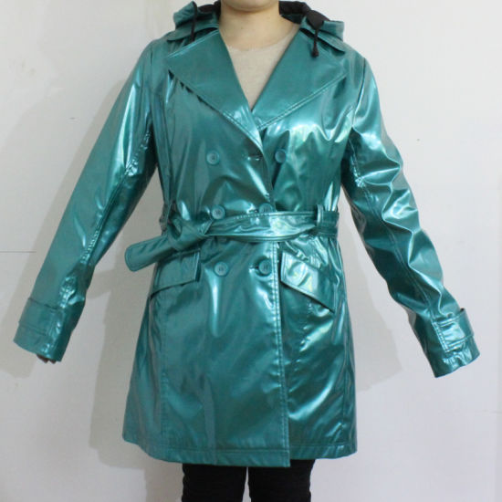 PU Blue Hooded Raincoat for Adult pictures & photos