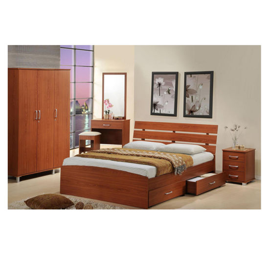Bedroom Set Melamine Faced Particle Board Ashly Bed Frame