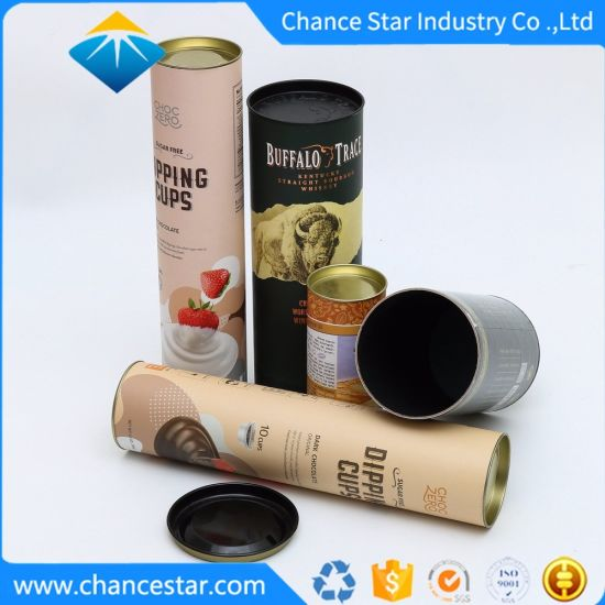 Custom Colorful Paper Cardboard Round Tube Wine Packaging Boxes