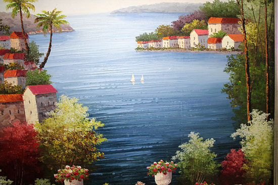 Handmade-Painted Oil Painting Mediterranean Landscape Painting pictures & photos