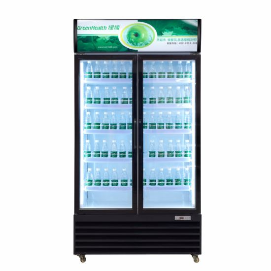 China Upright Glass Door Drink Fridge With Led Lighting China