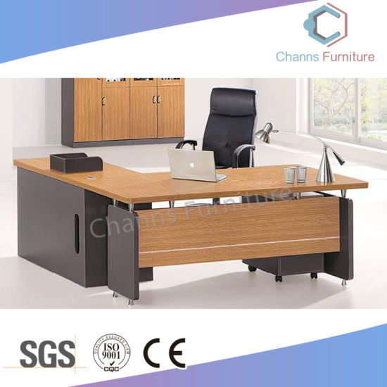 Classical Design L Shape Office Table With Mobile Drawer (CAS MD18A34)