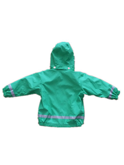Green PU Reflective Rain Jacket for Children/Baby pictures & photos