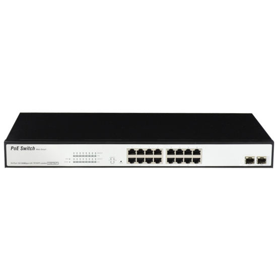 10/100/1000m 16 Port Poe Network Switch 2SFP Uplink Surge Protection Suppport Hik and Dahua Camera