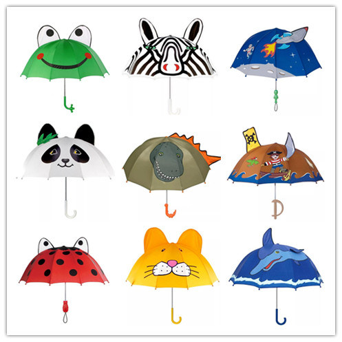 Kids Girls Boy Novelty Cartoon 3D Pop-up Ear Dome Hook Umbrella Rain Brolly Gift in Stock pictures & photos