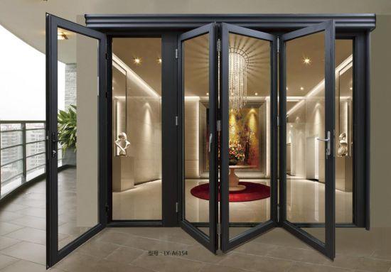 China Hot Sale Double Glass Aluminum Frame Folding Door Reasonable