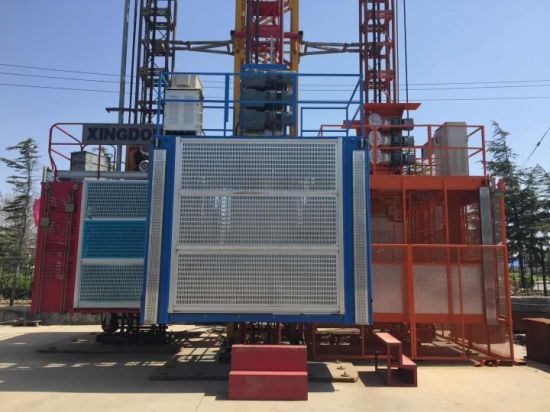 Easy Operation and Autocontrol System Sc100/100 China Double Cages Building Construction Hoist