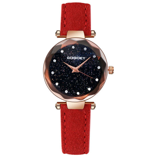Diamond-Studded Quartz Watch Dull Polish PU Leather Band Starry Sky Wrist Watch pictures & photos