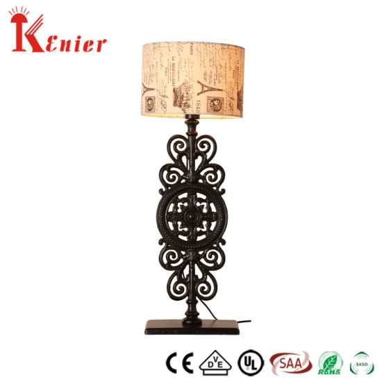 Special Linen Shade with Cast Iron Base in Matt Black Color Table Lamp
