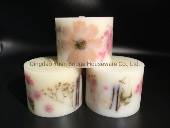 Hand Inlay Natural Flowers Scented Pillar Candles for Indoor Fragrance
