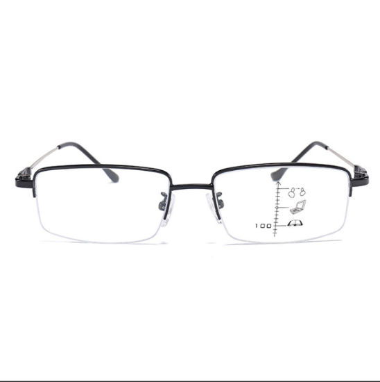 Half Metal Anti Blue Light Blocking Glasses Progressive Multifocal Reading Glasses