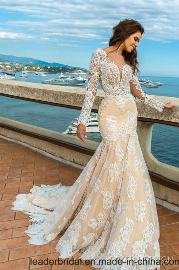 China mermaid wedding dress nude lining long sleeves lace for Wedding dresses colors other than white