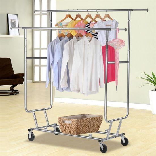 Adjustable Double Rail Rolling Clothing Garment Rack Drying Chrome Finish JP CR406