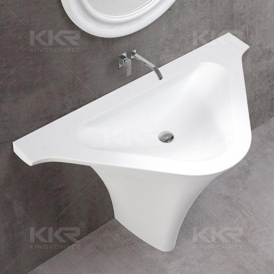 White Marble Pedestal Washing Basin Used For Bathroom