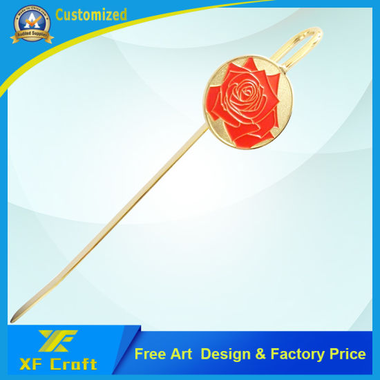 Professional Customized Metal Gold Plated Beautiful Rose Shape Logo Design Promotion Fashion Students Bookmark for Souvenir Gift (XF-BM02) pictures & photos