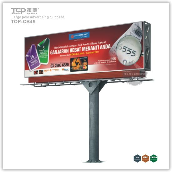 Outdoor Large Pole Double Sides Light Box, Trivision Advertising Billboard