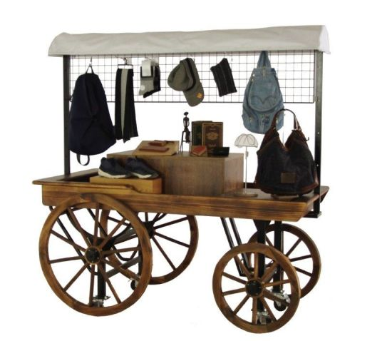Wooden Wagon Shape Store Display Shelf with Canopy