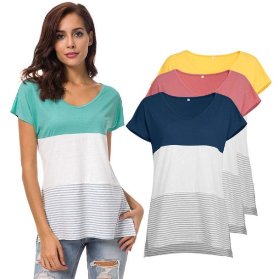Women Daily Top Cap Sleeve Striped Print T-Shirt