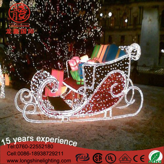 white large outdoor 2d decoration father sleigh christmas motif reindeer light - Decorative Christmas Sleigh Large
