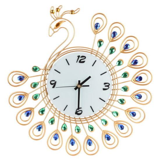 Peacock Wall Clock Big Size Metal Wall Clock