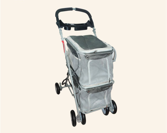 Quality Double Layers Pet Trolley Dog Outdoor Strollers
