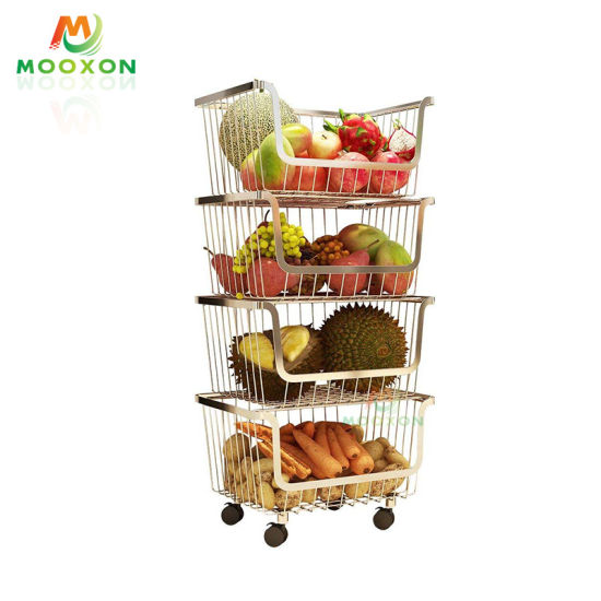 China 4 Tiers Stainless Steel Rolling Trolley Cabinet Design Stackable Kitchen Storage Fruit Basket China Stackable Basket And Fruit Baskets Price