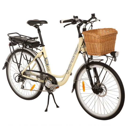 """Elegant 26 """" Lithium-Ion Battery Bicycle with Rattan Basket (JB-TDF11Z)"""