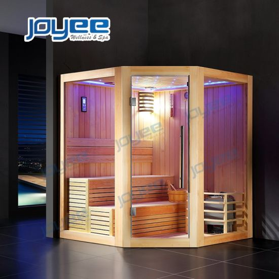 Joyee Big Size Diamond Shape Bathroom Indoor Wood Sauna Hemlock Poplar Traditional Wooden Sauna Room for 2 4 Person