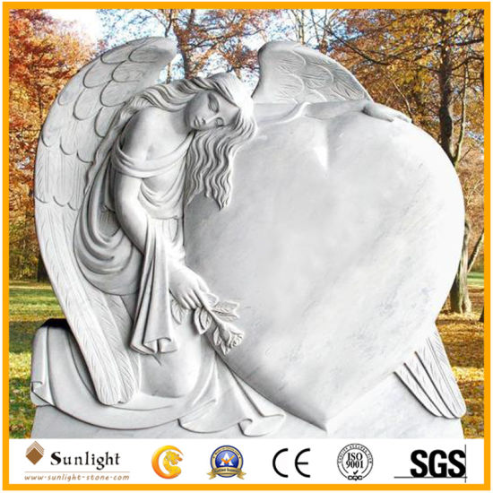 China Tombstone Factory New Design White Marble Monument Heart Tombstone with Weeping Angel Wings