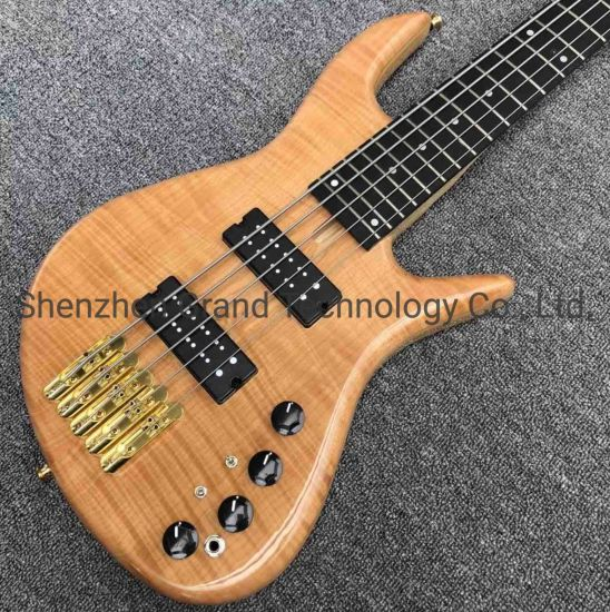 Solid Flame Maple Top 5 Strings Bass Guitar Ebony Fingerboard Custom Gold Hardware Ash Wood Electric Bass
