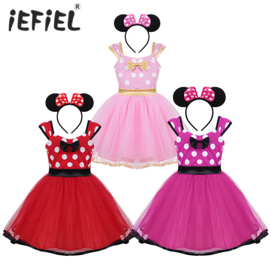 Girls Polka Dots Princess Dress with Headband for Halloween Christmas Cosplay Party