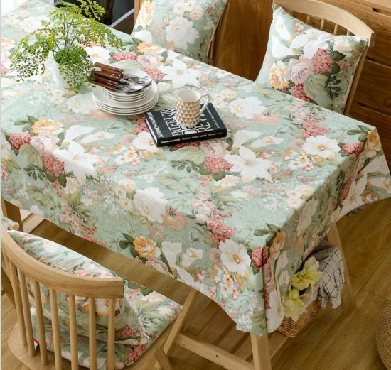 Bright Color Cotton Table Cloth with Printing Flowers