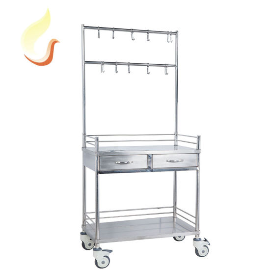 High Quality Stainless Steel Medical Infusion Treatment Trolly Emergency Cart with Drawers