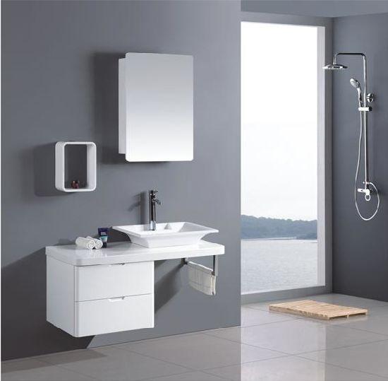 White Bathroom Vanity / Wall Mounted Corner Bathroom Mirror Cabinet / French Style Bathroom Cabinet (TH21503)