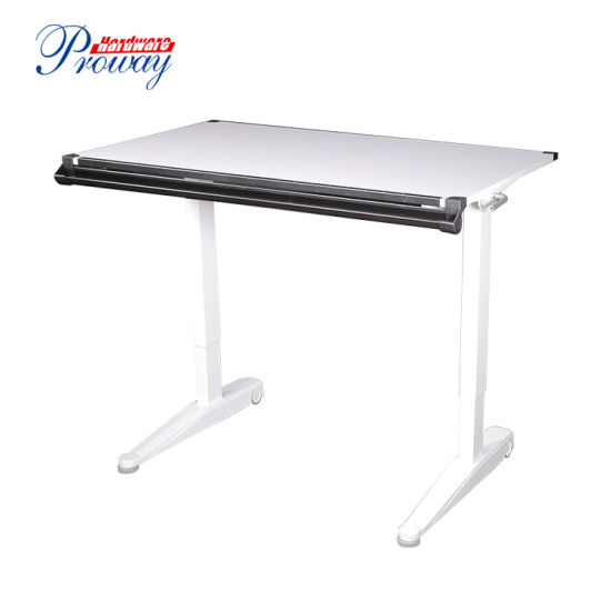 Hydraulic Height Adjustable Flip Top Standing Desk with Folding Legs
