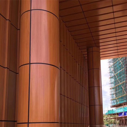 Column Wall Panel Made From Aluminum Honeycomb Sandwich Composite Panel with Wood Color