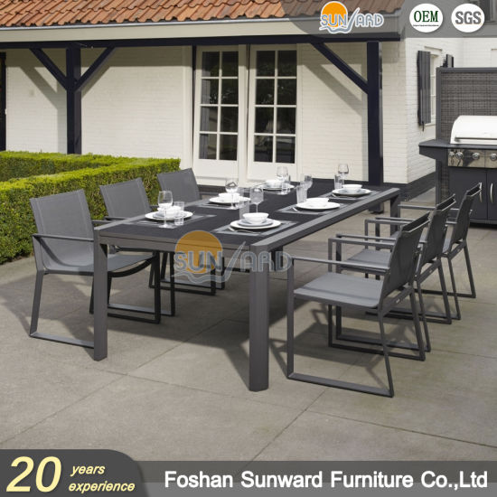 Hot Sale Wholesale Customized Garden Resort Hotel Outdoor Leisure Patio Dining Restaurant Aluminum Balcony Textliene Fabric Chair and Table Furniture