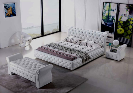 buy online e5f09 74393 [Hot Item] American Design Modular Bedroom Leather King-Size Bed