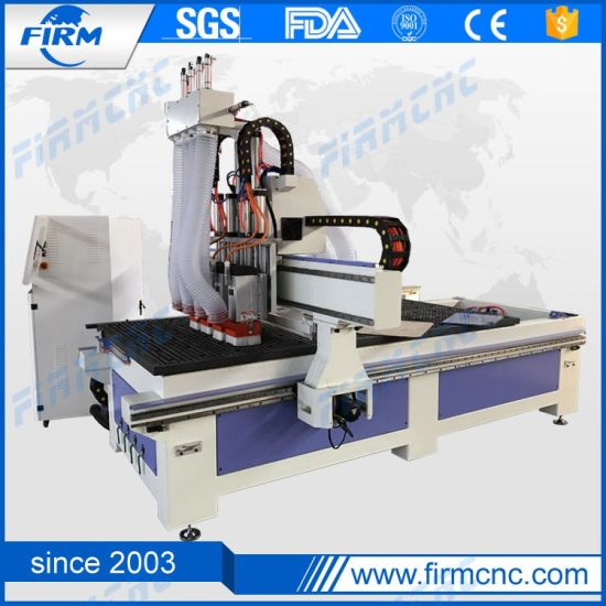 Automatic 1325 Wood Engraving CNC Router Machine / Pneumatic 4 Heads
